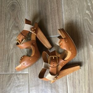Michael Kors Leather and Wooden Heel